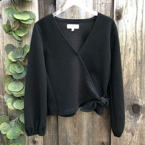 Madewell Texture & Thread Crepe Wrap Top Black XXS